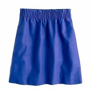J. Crew Wool City Mini Skirt in Bright Blue